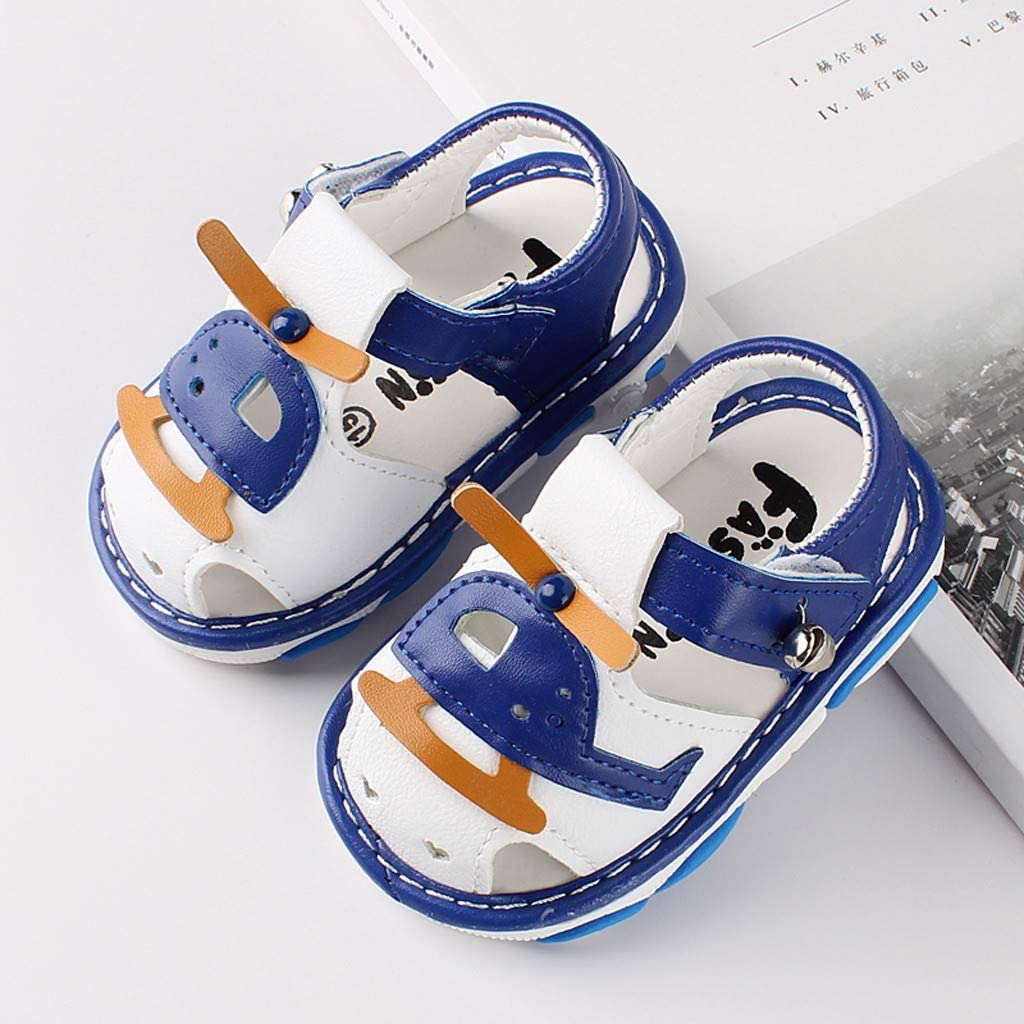 pollyhb Baby Shoes Baby Cartoon Helicopter Print Summer Beach Sandals Casual Toddler Shoes Blue