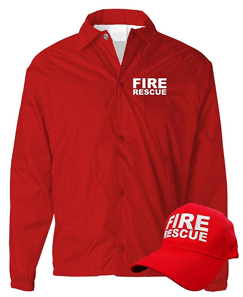 Fire Rescue Ems Emergency Services Coach Jacket Hat