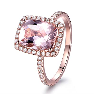 7b7041ab546ea Image Unavailable. Image not available for. Color  7×9mm Cushion Cut  Natural Pink Morganite Engagement Ring HALO Diamond Ring 14K Rose Gold