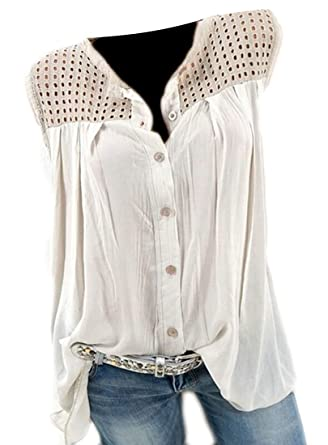 36b97f7b49dcd1 CBTLVSN-1 Womens Sleeveless Solid Color Summer Button Down Shirt Tank Tops  at Amazon Women s Clothing store
