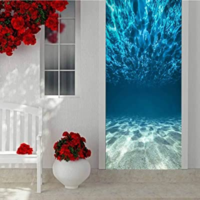 3D Self-Adhesive Wall Mural Decorative Door Stickers, Underwater Ocean Bottom and Surface, Self Adhesive Peel and Stick Removable Wallpaper Wall Decal W30.3 x L78.7 Inch : Baby
