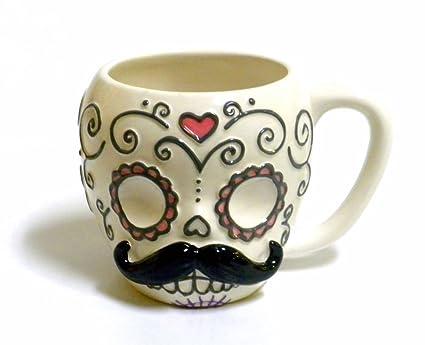amazon com sugar skull with mustache ceramic coffee mug kitchen