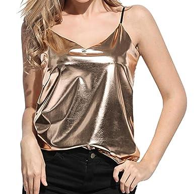 4075e077f458 2019 New Women s Shiny Liquid Wet Look Tank Tops Club Camisole Vest Blouse  by E-
