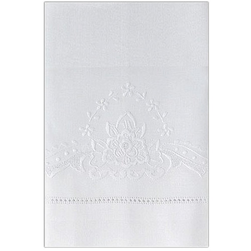Linen Guest Bath Tea Hand Towel White with Gilucci Rose Embroidery and Hemstitch Ladder Border 14 X 22 Inch