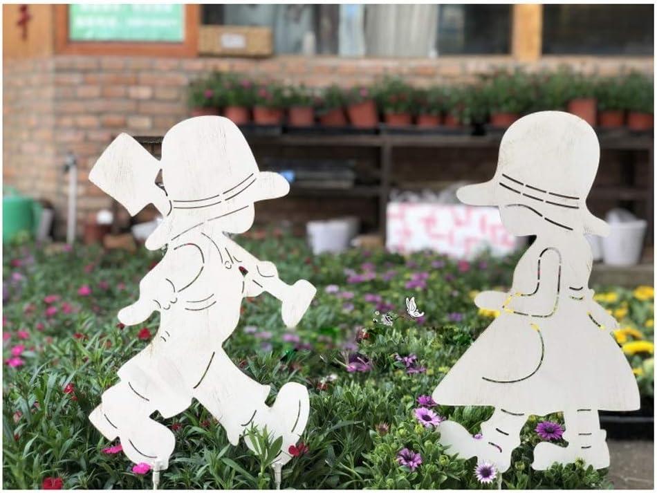 Pieza De Hierro Decoración del Jardín Boy + Decoración Chica del Césped, Yarda del Jardín De Decoración, Decoración del Jardín, Al Aire Libre Patio Decoración: Amazon.es: Hogar