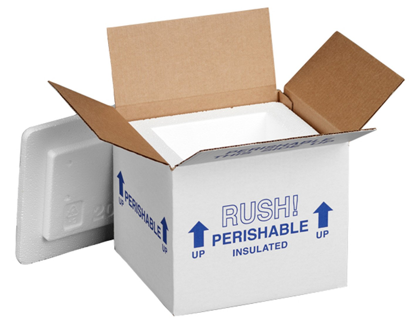 "Polar Tech 205C Thermo Chill Insulated Carton with Foam Shipper, Small, 6"" Length x 5"" Width x 6-1/2"" Depth (Case of 2)"
