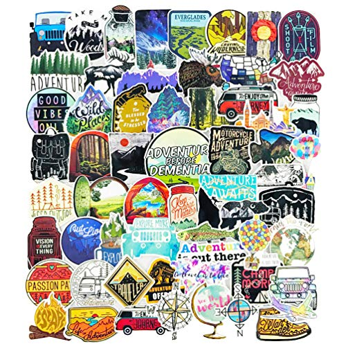 Outdoor Adventure Stickers Decals Pack 65pcs Waterproof Nature Hiking Camping Stickers for Suitcase Cars Laptop Motorcycle Scrapbook (Best Hiking Stickers)