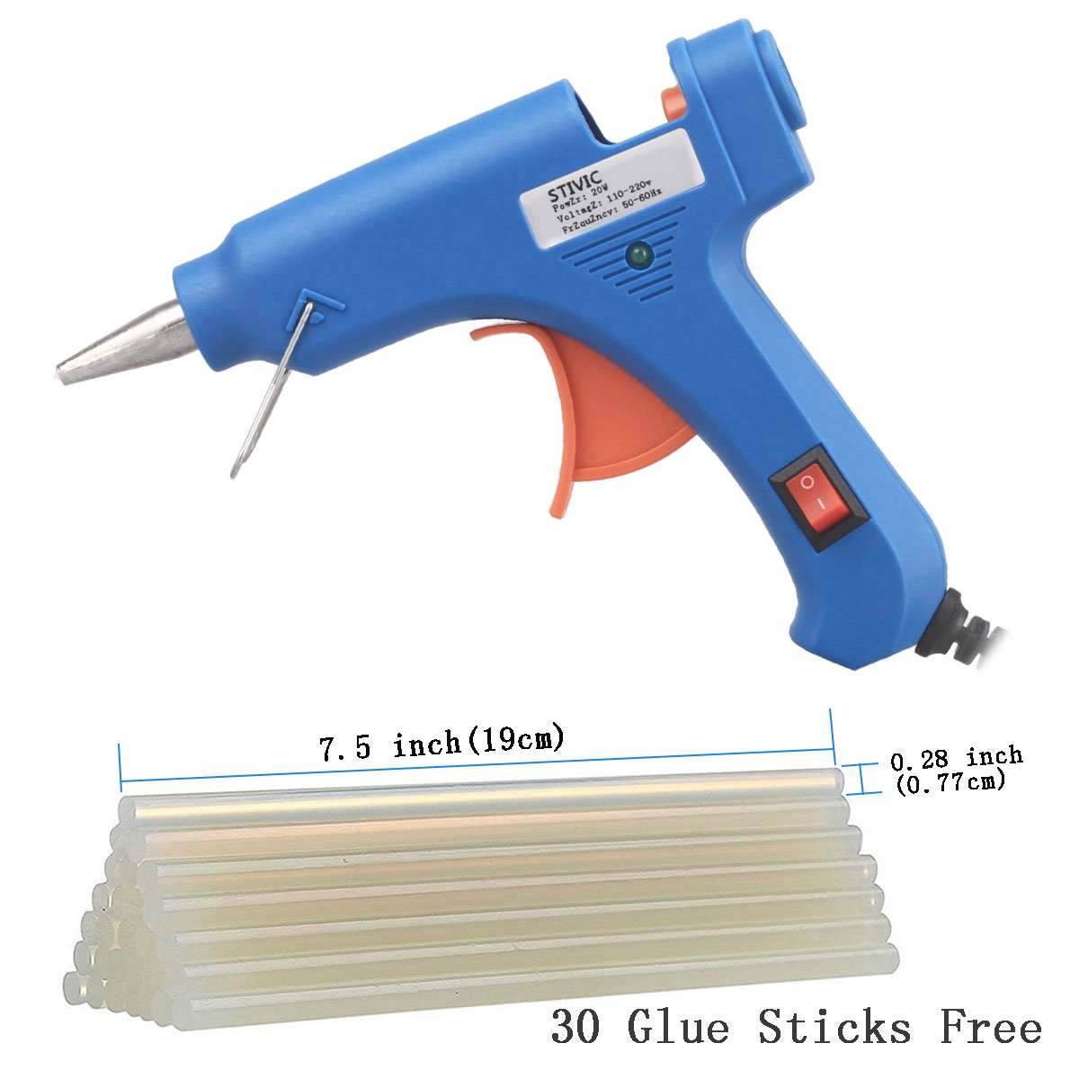 STIVIC 20W Hot Melt Glue Gun with 30pcs Glue Sticks For DIY Home Repair,Blue Yisugou JQ01