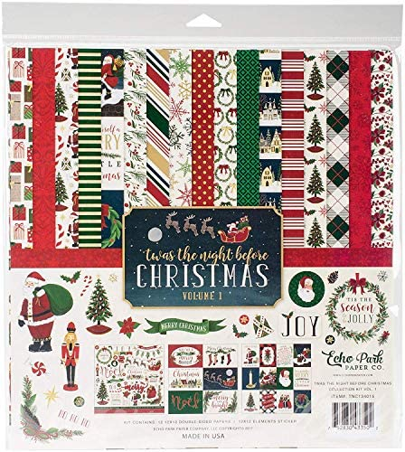 Echo Park Paper Company Night Before Christmas Collection Kit Vol. 1 F ur Pa k