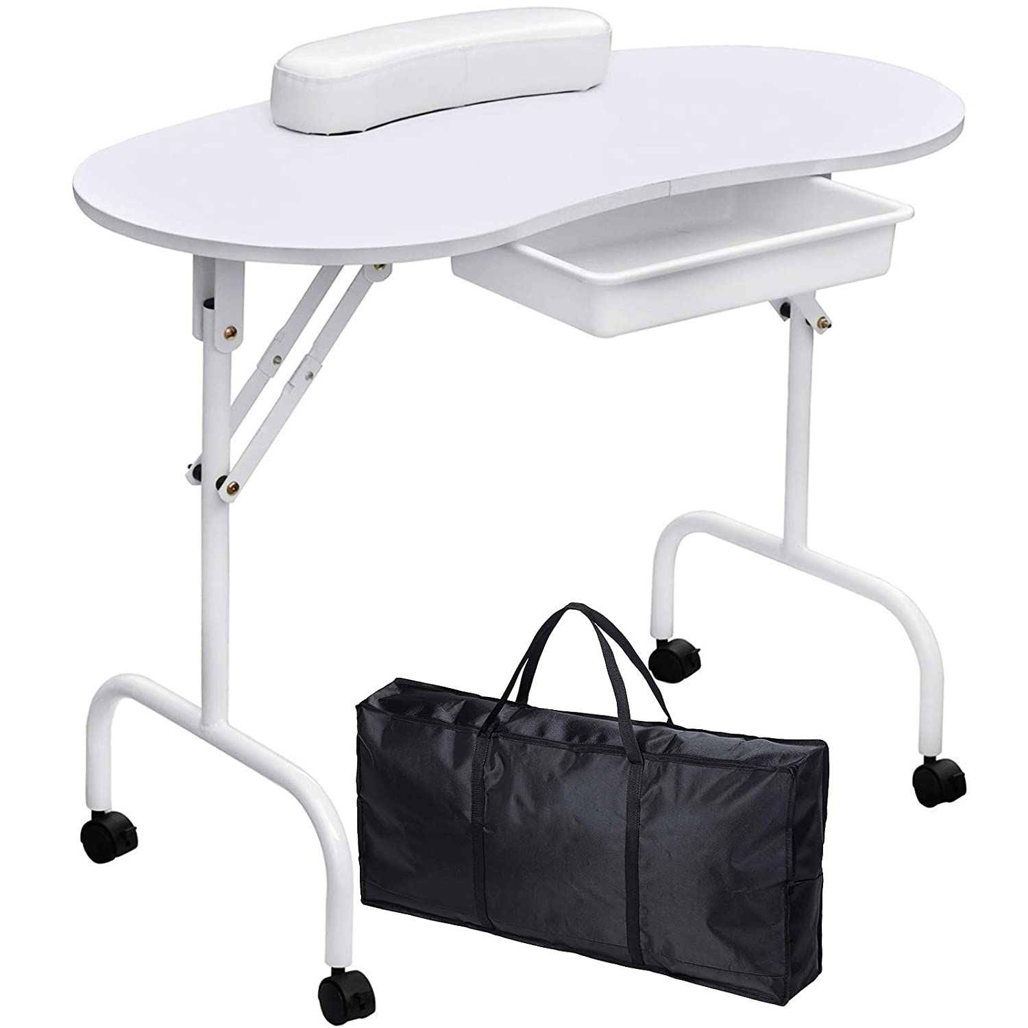 Manicure Nail Table, Kalolary Portable Folding Station Desk Movable Manicure Tech Table for Home Spa Beauty Salon with Sponge Wrist Cushion, Storge Drawer, Carry bag(White)