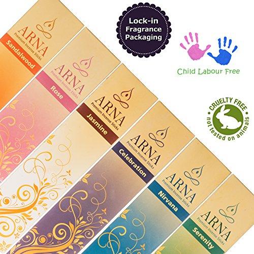 Arna Premium Incense Sticks | Aromatherapy Variety Gift Pack | 126 Sticks Total, 21 Sticks of Sandalwood, Rose, Celebration, Serenity, Nirvana, Jasmine