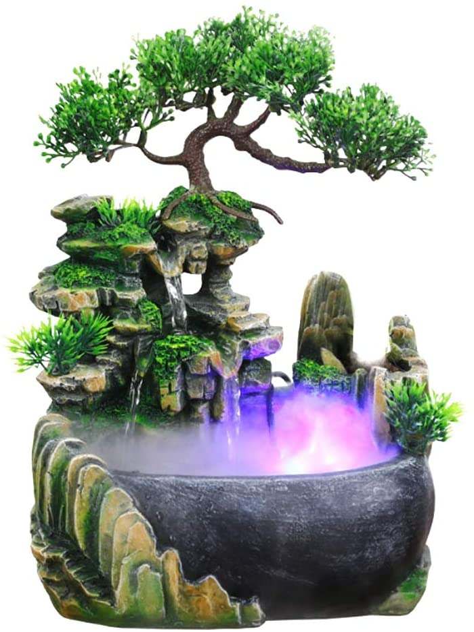 Asixx Simulation Rockery Desktop, Mini Fountain with Light Atomizing Desktop Waterfall Humidifier for Office Home Desk Decoration (US Plug 110V)