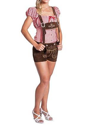 FROHSINN Damen Trachten Lederhose kurz, 100% Leder, Kurze