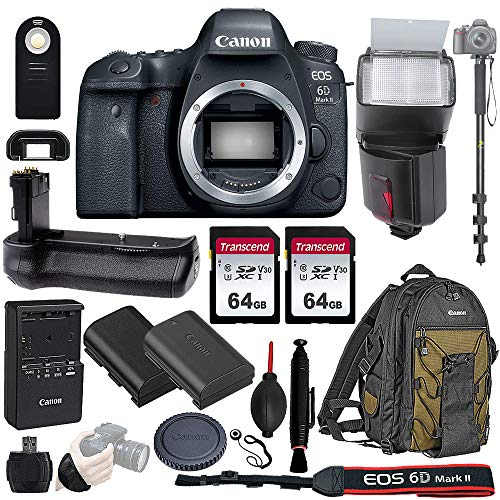 Canon EOS 6D Mark II Wi-Fi DSLR Camera Body - with Pro Battery Grip, TTL Flash, Canon Backpack,128GB Memory, Replacement Battery for LP-E6N, 72