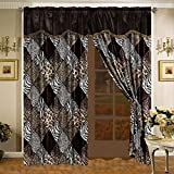 4 Piece Safari Curtain set - Zebra, Giraffe, Leopard, Tiger Etc - Multi Animal Print Brown Beige Black White Micro Fur Window Panel Set with attached Valance and Sheers