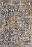 Safavieh Bristol Collection BTL347A Grey and Blue Vintage Distressed Polyester Area Rug (8' x 10')