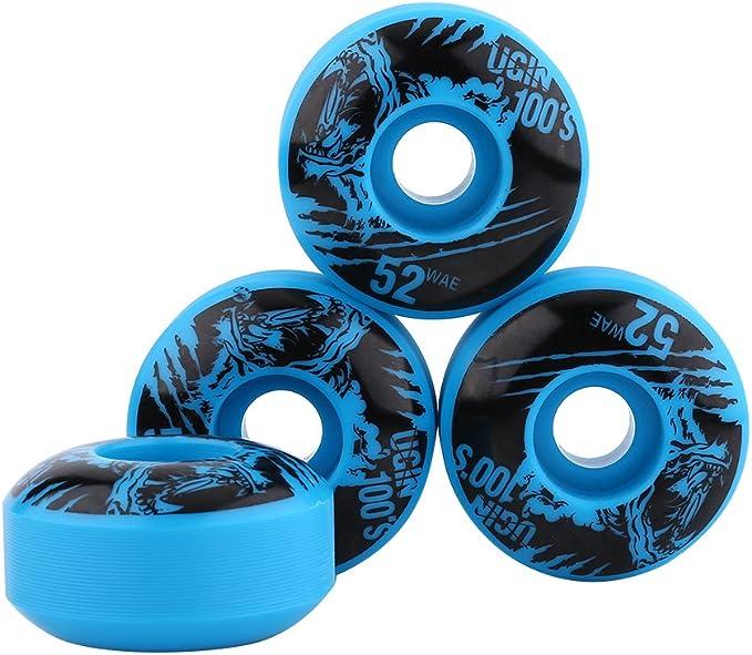 4PCS//Set 52mm Professional Anti‑Skid No Noise High Elastic PU Skateboard Flashing Wheel MAGT Skateboard Wheel Blue