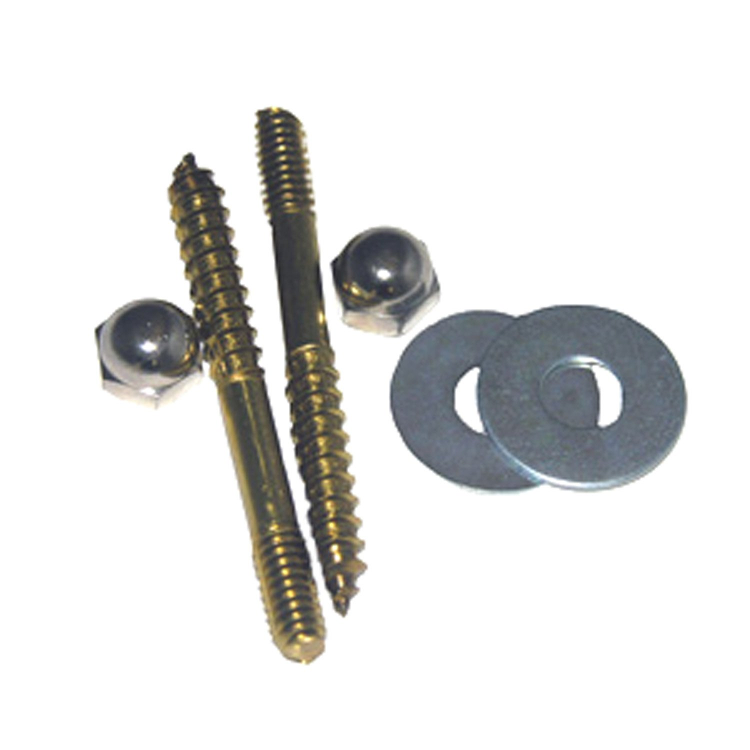 LASCO 04-3601 Toilet Screws with Solid Brass 1//4-Inch by 2-1//2-Inch with Nuts and Washers