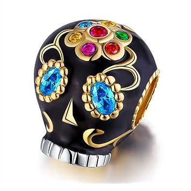 5ababaf45 ... Charm Bracelet, Round Shape Genuine 925 Sterling Silver Colorful Enamel Bead  for European Bracelets Compatible (Skull Charms): Amazon.co.uk: Jewellery