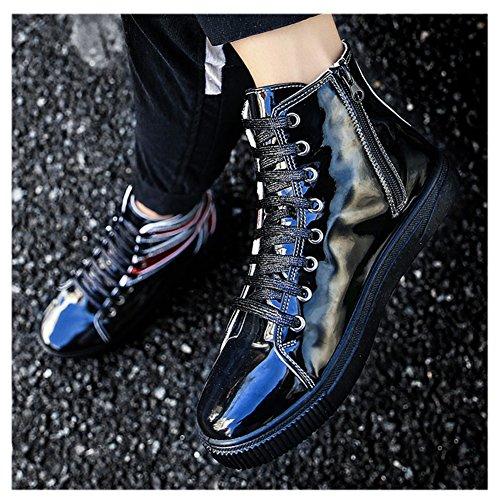 Scurtain Mens Haut Skateboard Chaussures Décontracté Rétro Bling Cheville Chaussures De Marche De Mode Noir