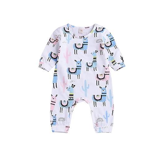 b5eb595893b Baby Boys Long Sleeve Clothes Newborn Baby Girl Boy Animal Print Romper  Infant Alpaca Bodysuit Cactus