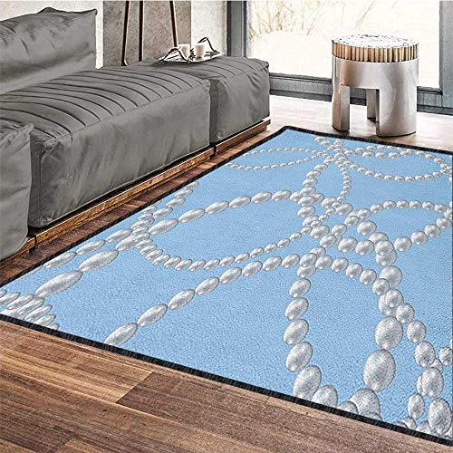 Pearls Traditional Bright Area Rug,Pearl Necklace Bracelet Classic Women Bridal Groom Shower Theme Feminine Art Carpet for Children Home Decorate Baby Blue White 79