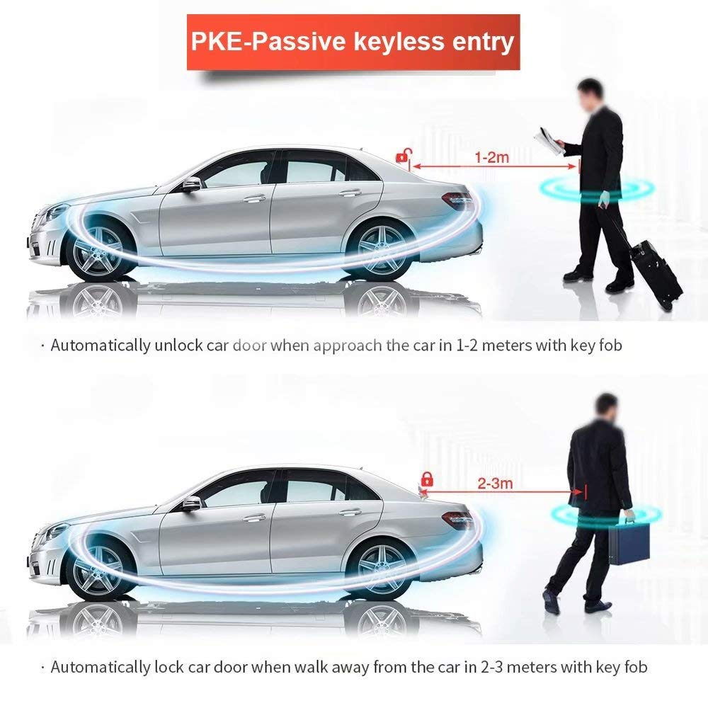 Paddsun 1-Way Car Security Alarm System with Passive Keyless Entry Remote Engine Start Push Button Star