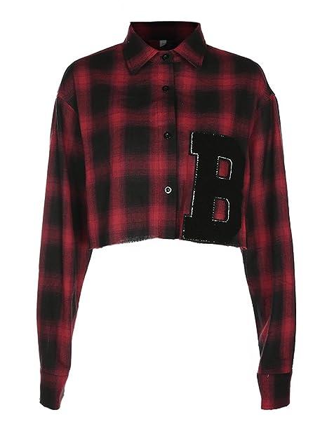 Blusa corta para mujer, Blusa estampada de cuadros con mangas largas, Blusas de moda