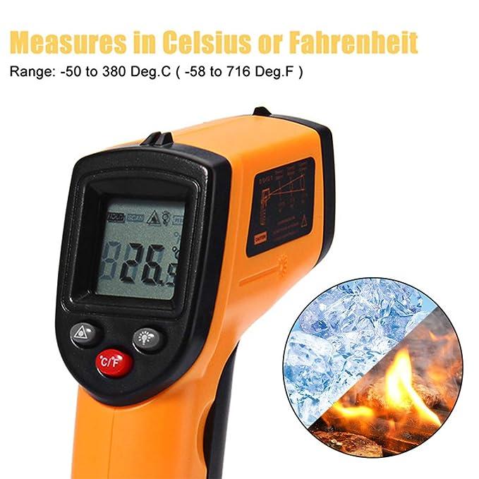 ... Digital sin contacto LCD Medidor de temperatura pistola - -50 ~ 380 ℃ (-58 ~ 716 ℉), instant-read Handheld para tuberías de agua caliente/caliente Motor ...