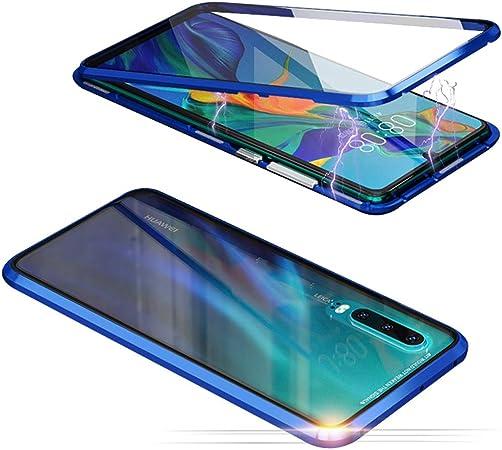 Jonwelsy Cover per Huawei P20 PRO, Adsorbimento Magnetico Paraurti in Metallo con 360 Gradi Protezione Case Doppi Lati Trasparente Vetro Temperato ...
