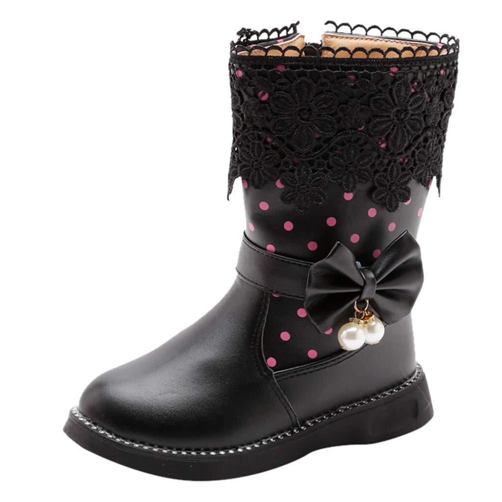 Kuaneus Girl's Waterproof Lace Bowknot Side Zipper Fur Winter Boots (Toddler/Little Kid/Big Kid) Black by Kauneus Kid Shoes NEW