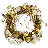 National Tree 18 Inch Woven Wreath with Berries, Mixed Flowers and Pastel Eggs (RAE-BW030127-1) For Sale
