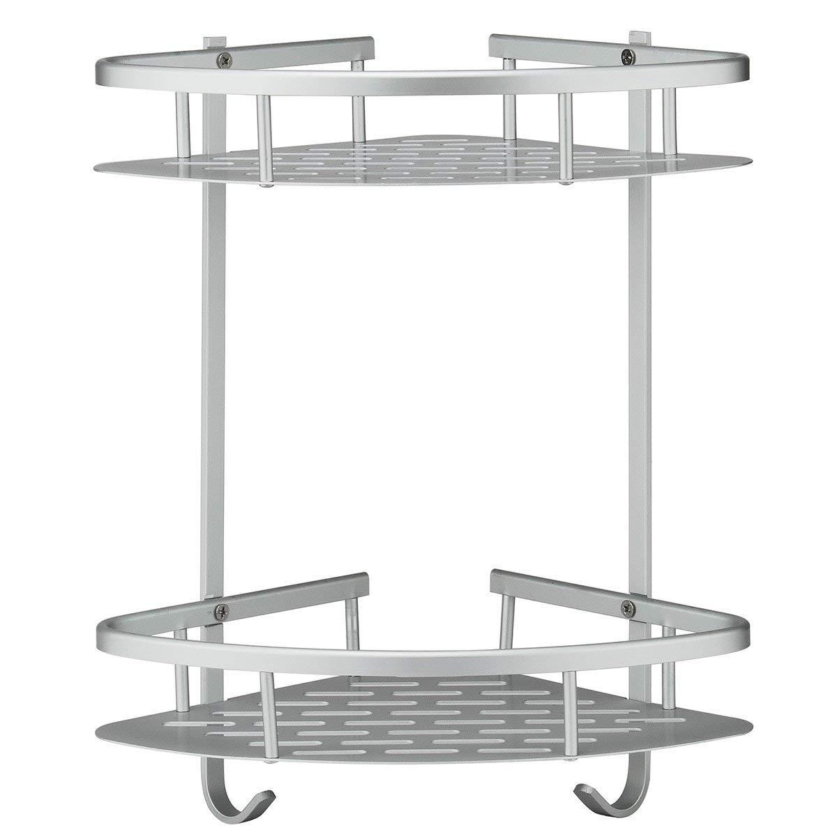Shelf No Drilling, Durable Aluminum 2 Tiers Shower Storage Caddy Towel Bar Basket Kitchen Corner Sticky No Drills Shelves, C-GJ5 (Set 1) CXI Online Store