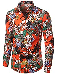 Men's Flower Casual Button Down Shirts