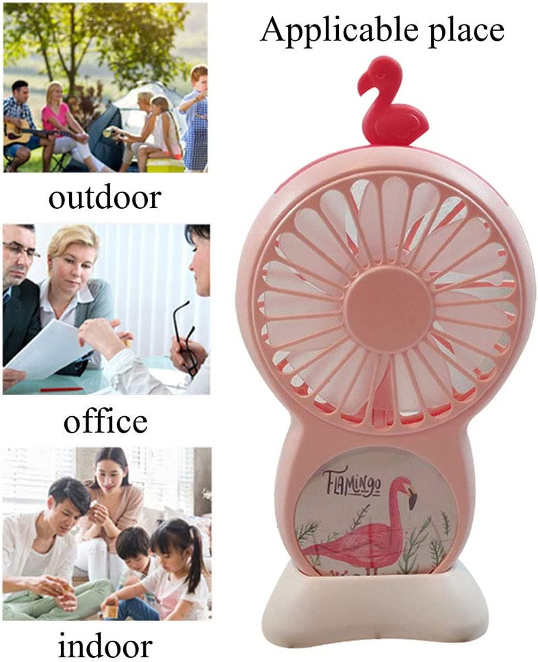 HLSH Cartoon Flamingo Mini USB Fan Portable Handheld with LED Light Mute for Office Outdoor Student Gifts