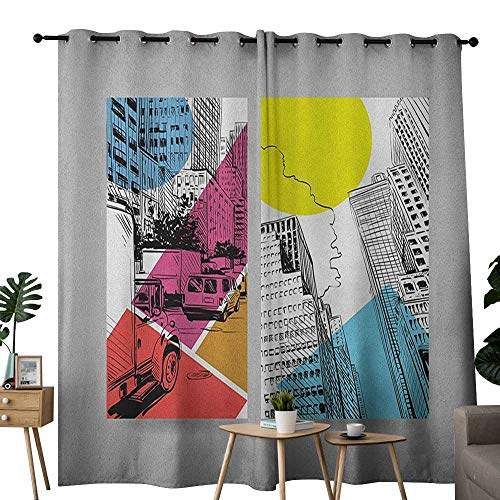 NUOMANAN Blackout Curtains 2 Panels City,Urban Illustration with Comic Strip Design Trucks and Van Architecture Modern Times, Multicolor,for Room Darkening Panels for Living Room, Bedroom 84