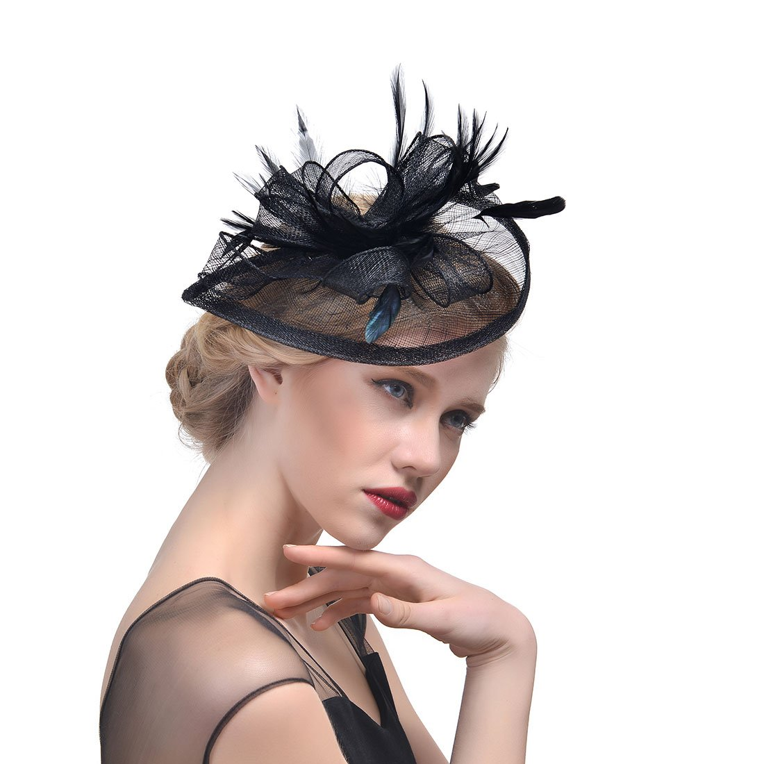 Zongsi Fascinators Hat Flower Mesh Feathers Hairpin Hat Clip Cocktail Tea Wedding Party Headwear for Girls and Women( Style 4, Black