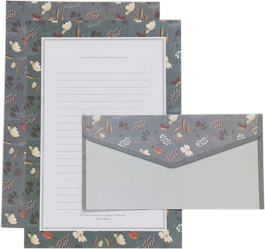 KINTRADE Creativo Bella Carta da Lettere Busta Floreale Simpatico Cartone Animato Set Carta intestata Piccoli Regali freschi