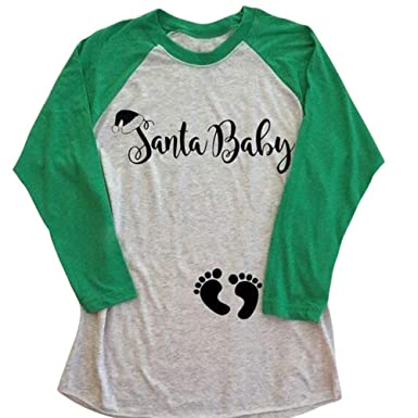 0c0cb7e98 Santa Baby Maternity Christmas T-Shirt Funny Pregnancy Announcement Tee  Christmas Xmas Gift Tops at Amazon Women's Clothing store: