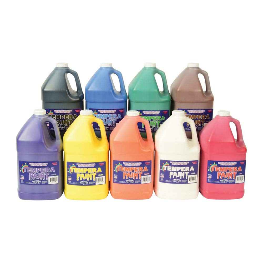 Constructive Playthings Gallon Tempera Kids Paint Set with 9 Non-Toxic Washable Colors by Constructive Playthings