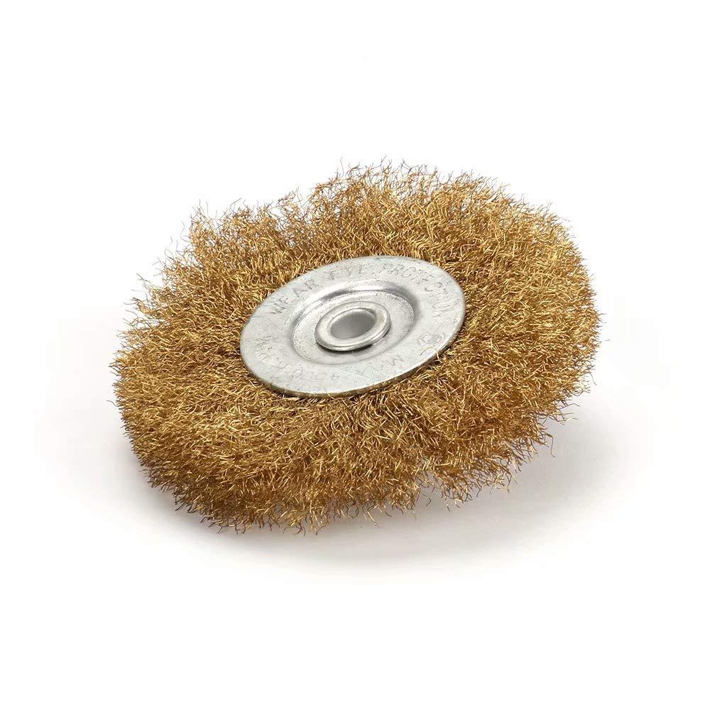 nettoyage et polissage de surface d/écolletage 4100mm 1Pc Brosse plate en laiton serti de fil de cuivre pour meuleuse de banc