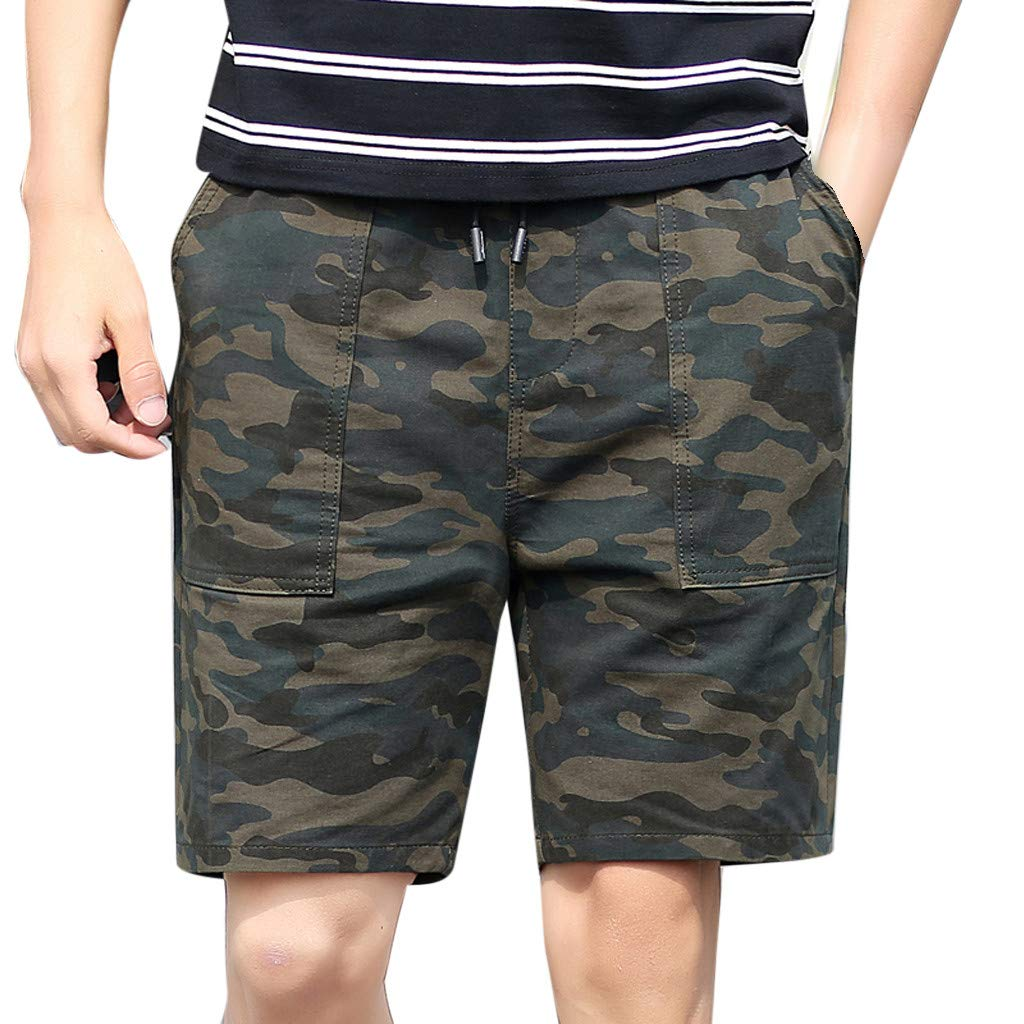 aiNMkm Beach Shorts for Men,Men's New Summer Casual Loose Patchwork Camouflage Printing Beach Shorts Pants,Green,3XL
