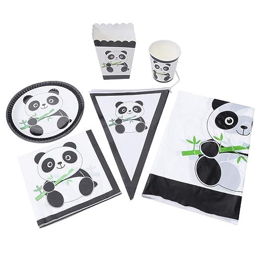 AMOSFUN fiesta de cumpleaños vajilla lindo panda mantel ...