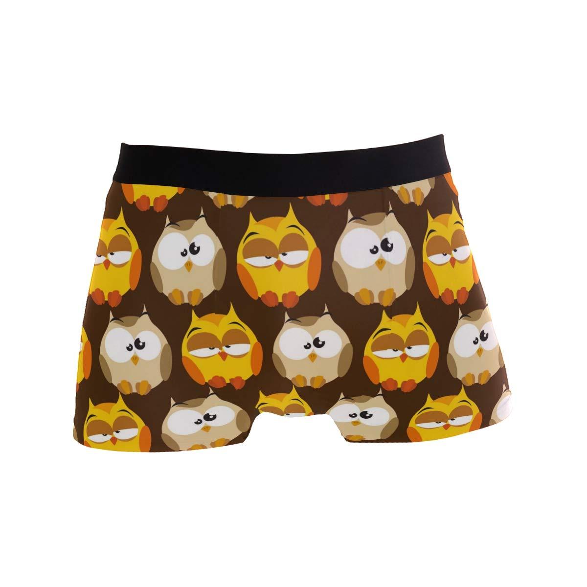 Mens Comfortable Underwear Owl Pattern Boxer Briefs for Men