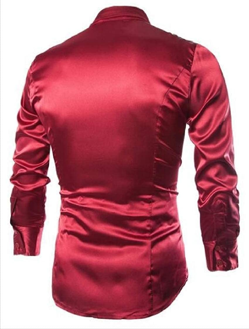 M/&S/&W Mens Fashion Smooth Casual Faux Silk Imitated Slim Western Shirt