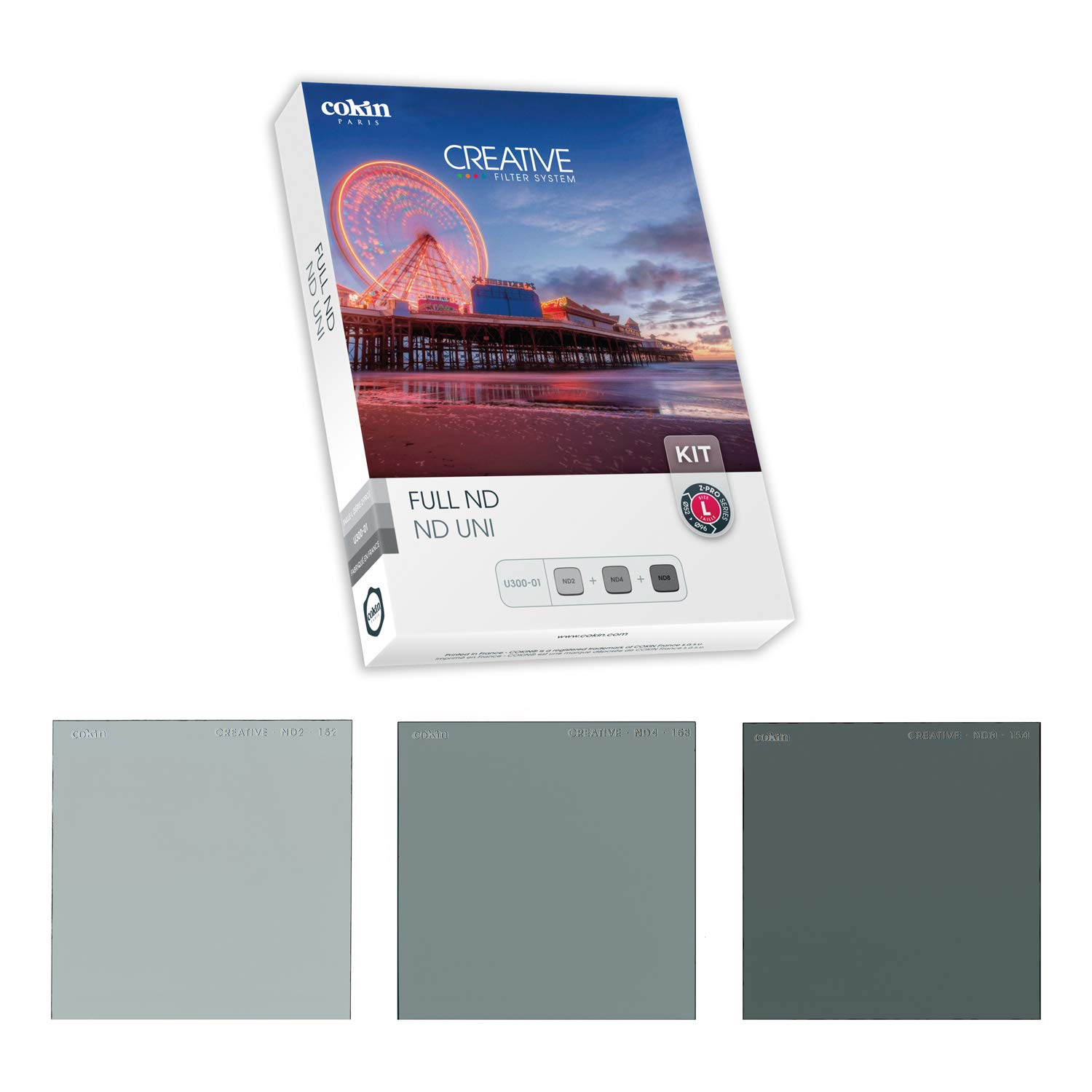 Cokin Square Filter Full ND Creative Kit - Includes ND2 (1-Stop), ND4 (2-Stop), ND8 (3-Stop) for L (Z) Series Holder - 100mm X 100mm by Cokin