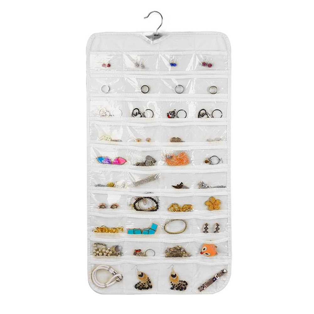 Rekukos Hanging Jewelry Organizer Holder Bag Double Sided Storage 80 Pockets by (Clear)