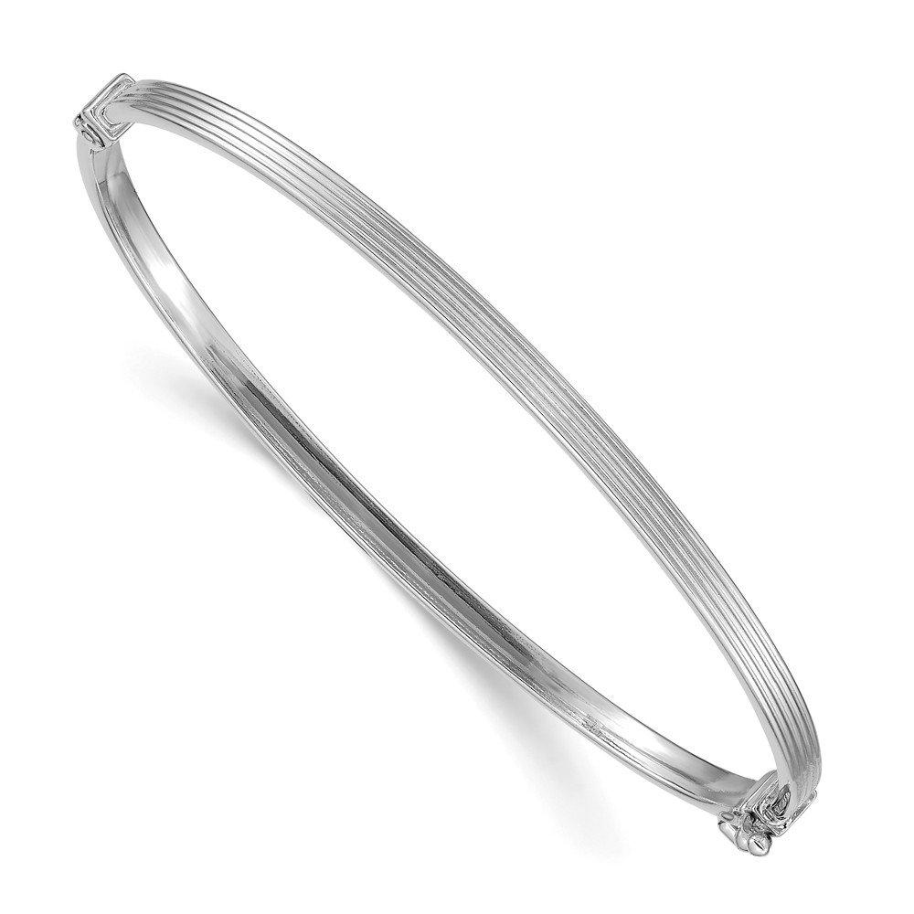 Mia Diamonds 14k White Gold Polished Textured Hinged Bangle Bracelet