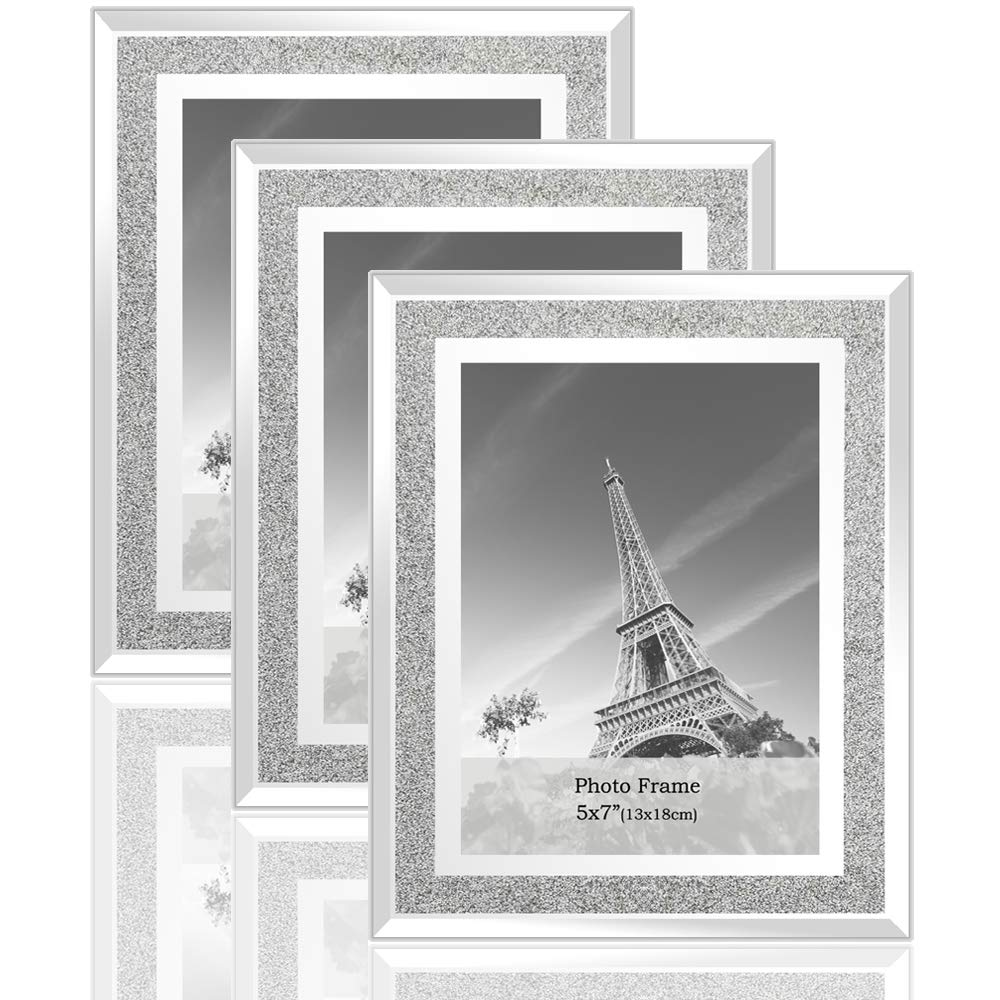 meetart Sparkle Crystal Silver Glitter Mirror Glass Photo Frame for Photo Size 5x7 Pack of 3 Piece