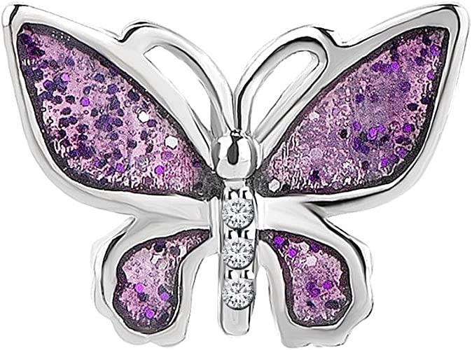 Mother Daughter Charm Butterfly Charm Purple Crystal Spacer Bead Bracelet New